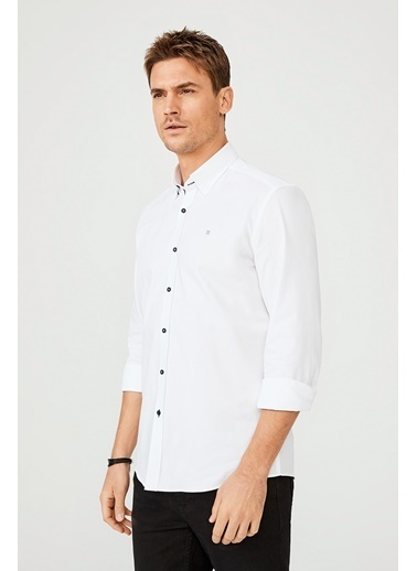 Avva Erkek  Düz Alttan Britli Yaka Gömlek A02Y2244 Beyaz